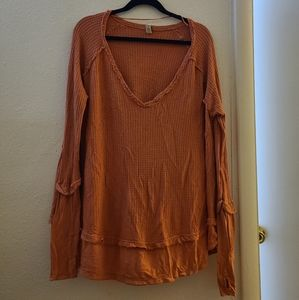 We the Free Orange Thermal Oversize Distressed Top